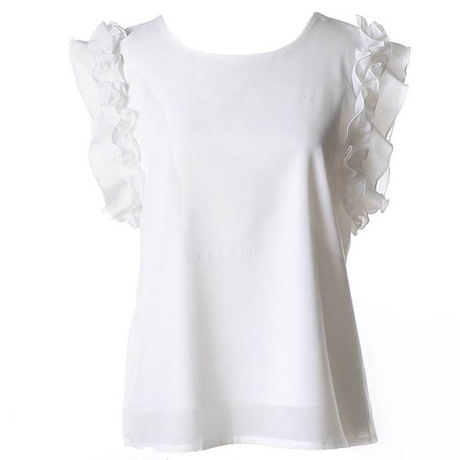 9c0bccdf0d663f Get Quotations · Hot Sale Women Summer Chiffon Blouse Short Ruffle Sleeve  Blouse Tops Casual Shirt Tops 7 Candy