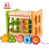 Early learning toy children shape sorting multifunction baby wooden activity cube for kids