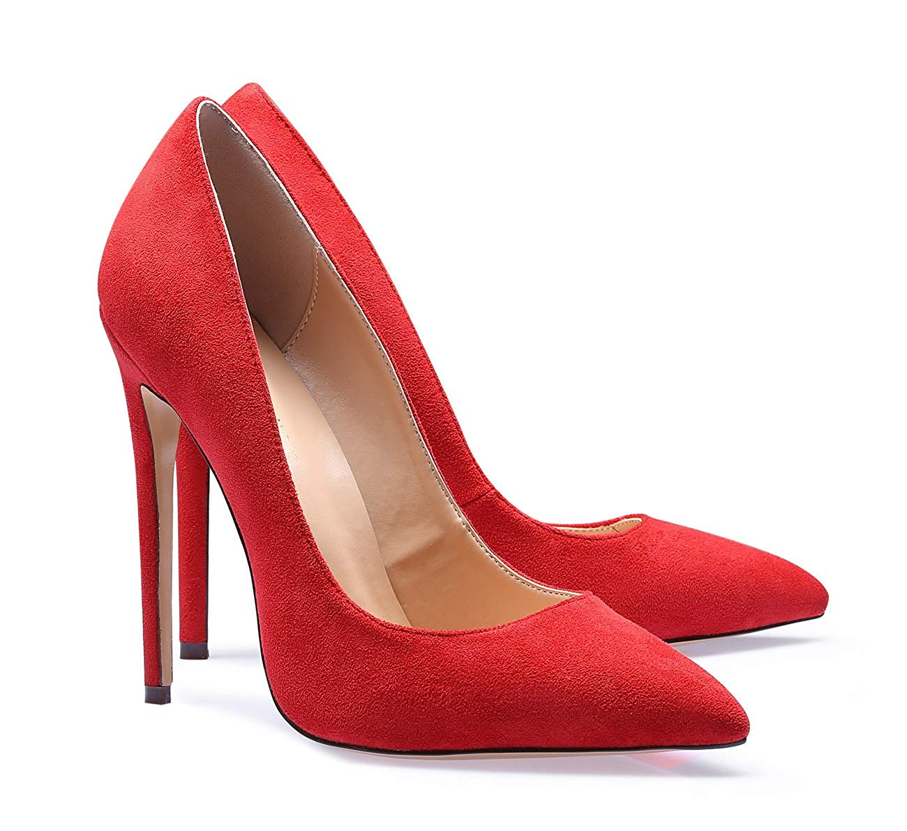 Suede Heels Shoes Red Women Wedding Shoes Bridal