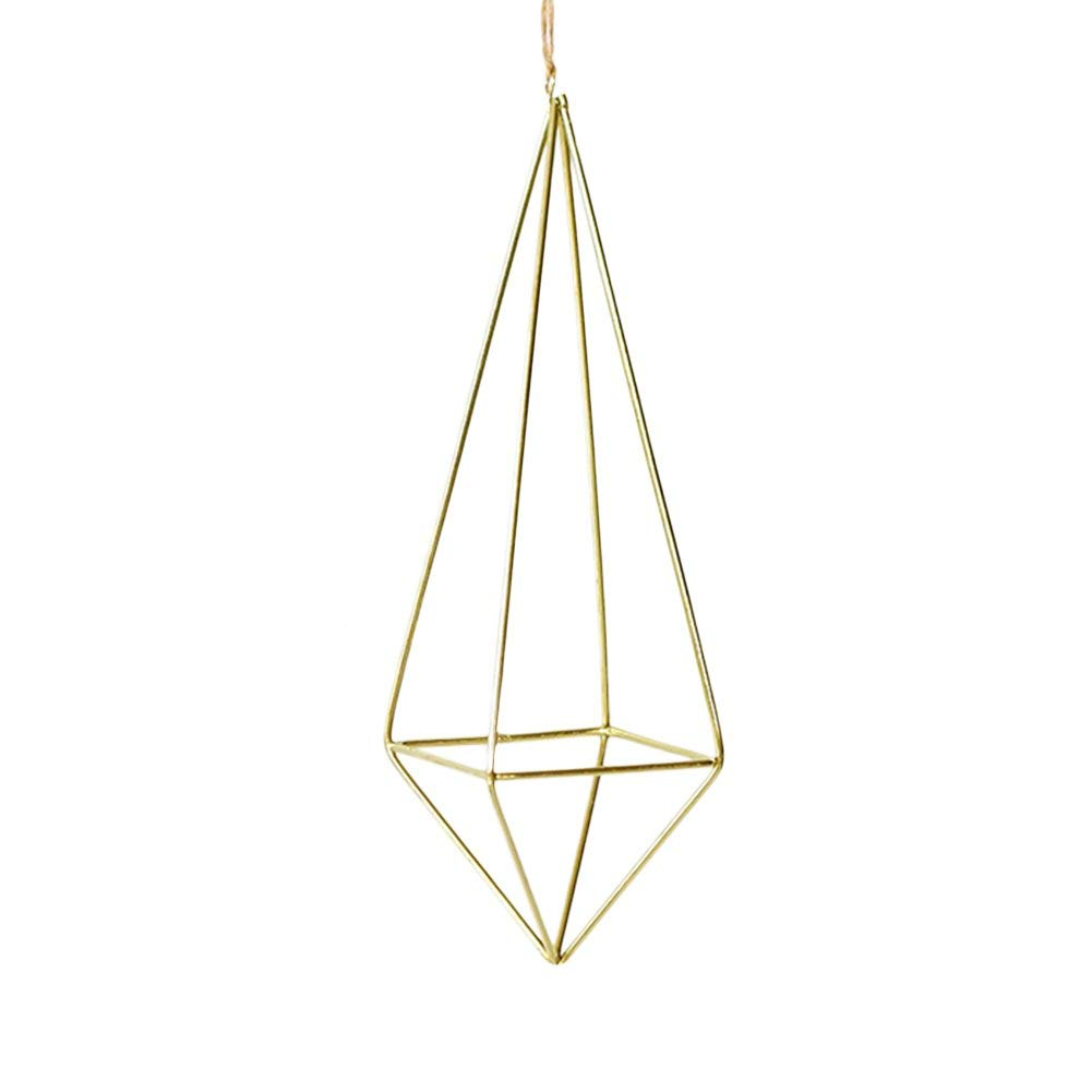 Sundlight 1 Pack Hanging Air Plant Holder Metal Geometric Tillandsia Flower Stand Display for Succulent Plants,Air Plant,Mini Cactus,Faux Plants(No Plant,Pot and Rope)