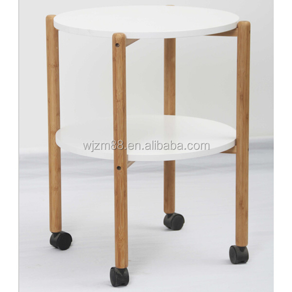 Modern Design Movable Bamboo Coffee Table, Folding Round Tea Table Wholesale