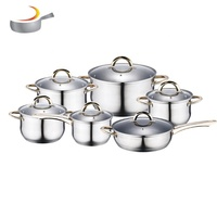 Home Kitchen Appliance Mirror Polishing Pan Set Stainless Steel 12pcs Kitchenware Cooking Pot Cookware set