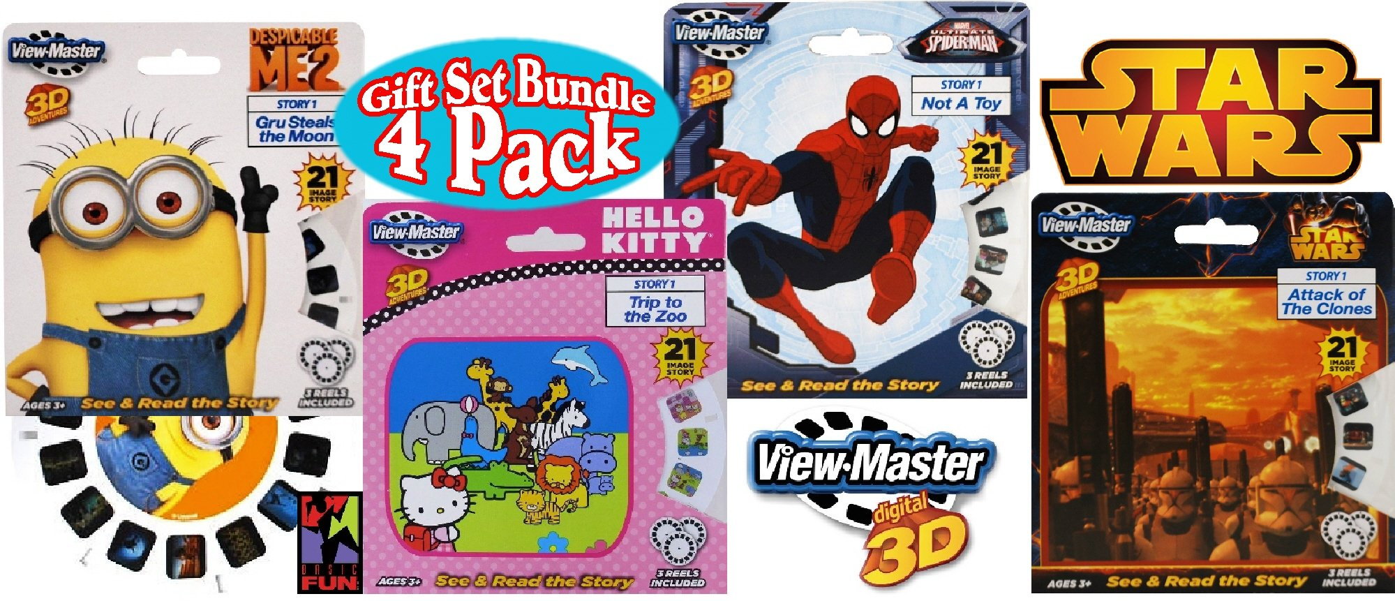 "Basic Fun View-Master Classic 3D Adventures 3 Reel Refills ""Despicable Me 2"" (Minions), ""Spider-Man"", ""Hello Kitty"" & ""Star Wars"" Gift Set Bundle - 4 Pack"