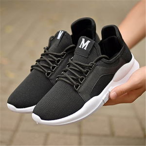 Cheap Wholesale Couples Flying Weave Mesh Sports Shoes Trend Men Casual Student Running White Shoes