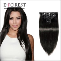 100% brazilian human hair wholesale clip in hair extension for woman