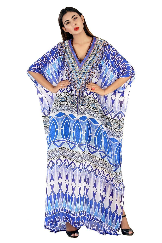 f22b14c83c Get Quotations · Beautiful womans one piece jewelled full length resort  wear beach coverup kaftan dress gorgeous silk kaftan