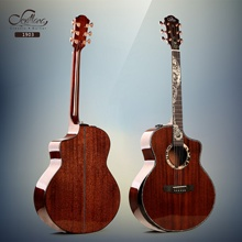 Made in China (High) 저 (quality OEM 41 inch Luxury 제 all solid 마호가니 와 gear (eiffel tower) 패턴 acoustic guitar