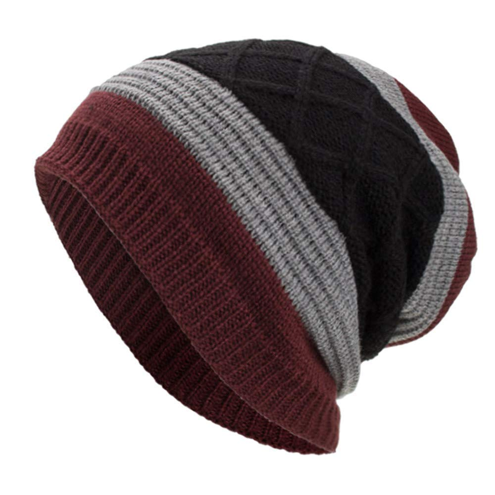 997db064097 Unisex Women Mens Fashion Stripe Winter Warm Knitting Hats Wool Baggy  Slouchy Beanie Hat Skull Cap