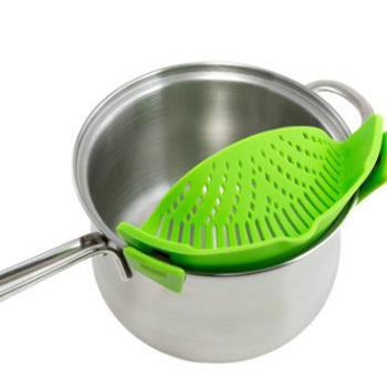 FDA Standard Made in China Silicone Factory Seller Green Sink Colander Fits All Pots