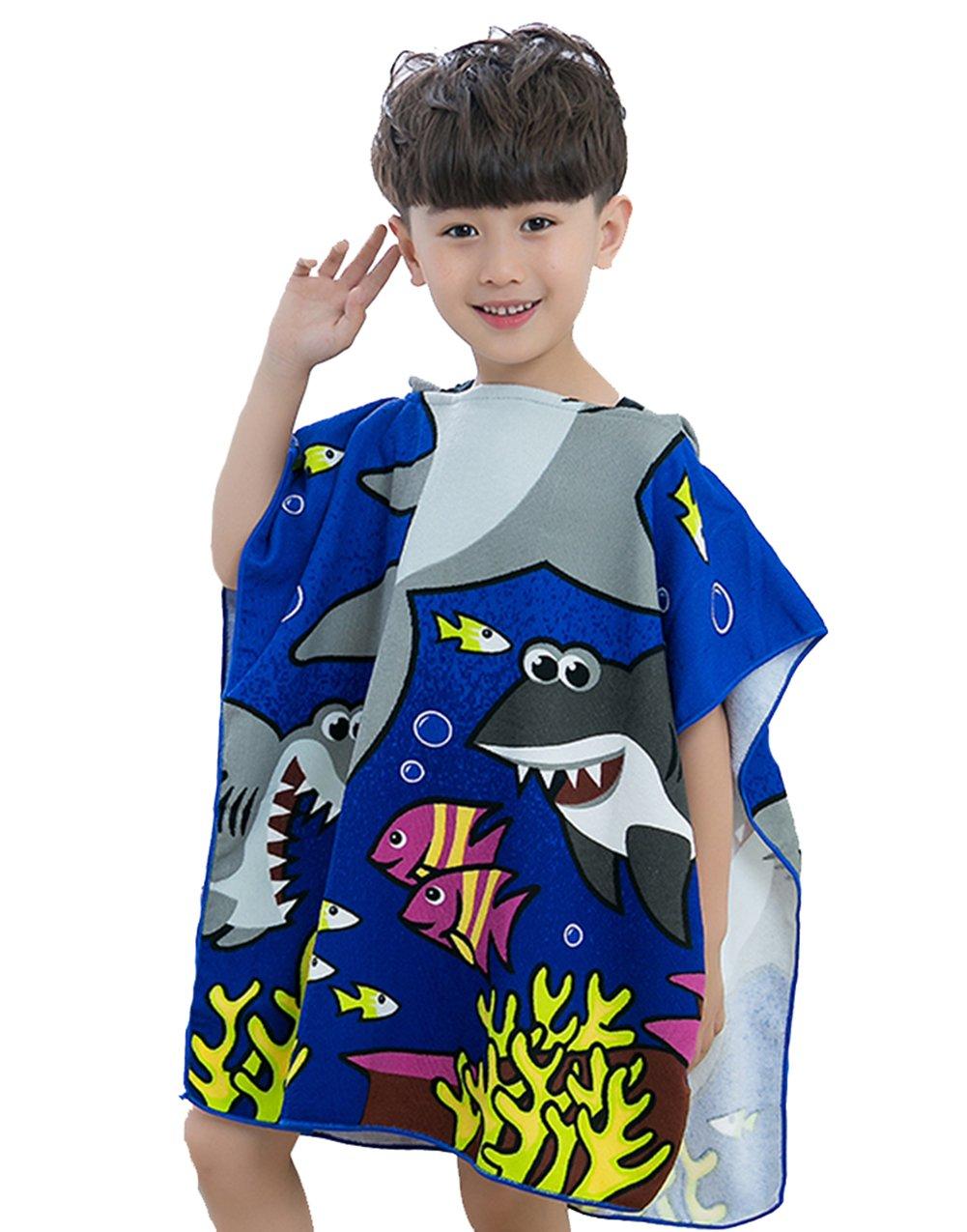 Get Quotations · Rohern Kids Cute Cartoon Shark Diver  Sailor Hooded Bath  Towel Boys Terry Bathrobes Soft 3085531e1