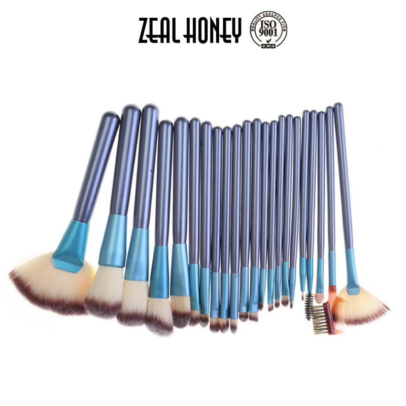 Zealhoney Professional 24pcs Wooden Handle Low MOQ Foundation Blue Color Makeup Brushes With Bag