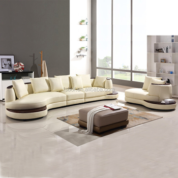 Home Furniture Half Moon Sectional Leather Sofa With Beige Color For Living  Room 105
