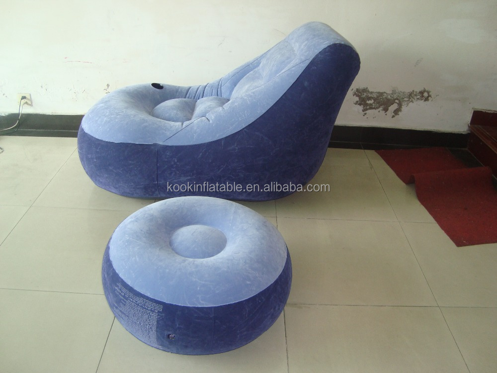 flocking vinyl air lounge chair inflatable lazy sofa
