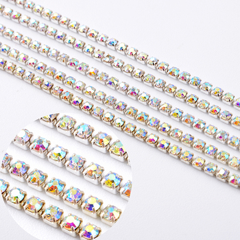Yiwu Wholesale SS6  SS8 SS10  crystal rhinestone Cup Chain With Silver Copper Claw Rhinestone Trimming DIY Garment Accessories