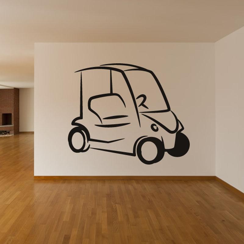 Simple Design Golf Cart Wall Sticker Living Room Art Vinyl Removable Home Decor Wall Decal