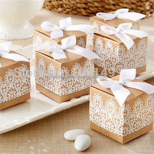 Sweet lovely Decoration paper Candy box Rustic & Lace Kraft Favor gift Box With Ribbon for Wedding and Party