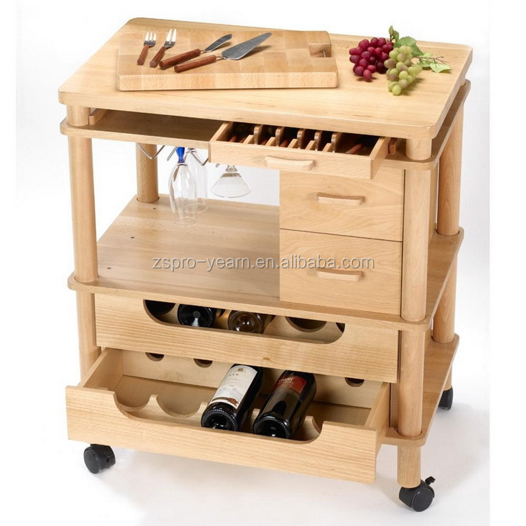 Wood Kitchen Service Trolley Cart With 4 Tiers 2 Drawers 2 Metal Basket 4 Casters For Home Hotel
