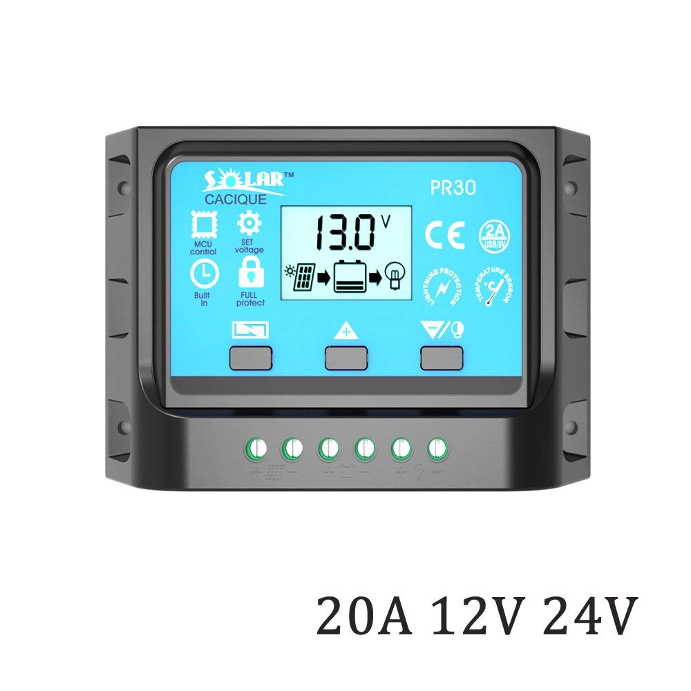 DPJ 10A 20A 30A 12V/24V LCD PWM Solar Panel 50W 100W 200W 300W 400W 500W Charge Regulator Battery Controller with two USB 5V Charger (PR3020)