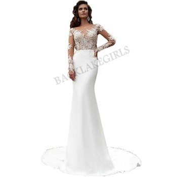 Sirena Vestidos De Boda Turquía 2019 Scoop Apliques De Encaje Blanco De Manga Larga Vestido De Novia De Boda Vintage Vestido De Buy Vestidos De