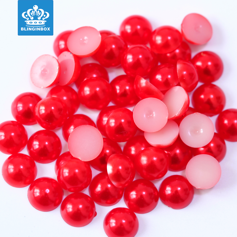 Wholesale high quality abs half round pearl beads plastic loose pearls