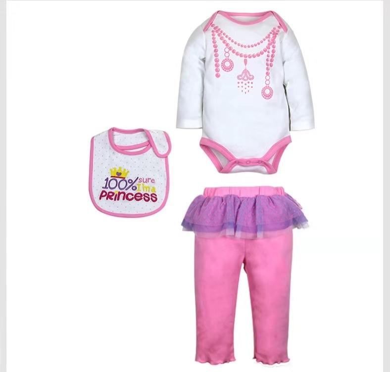 थोक 3 pcs सेट बच्चे लड़की लड़कों के कपड़े नवजात कार्बनिक कपास