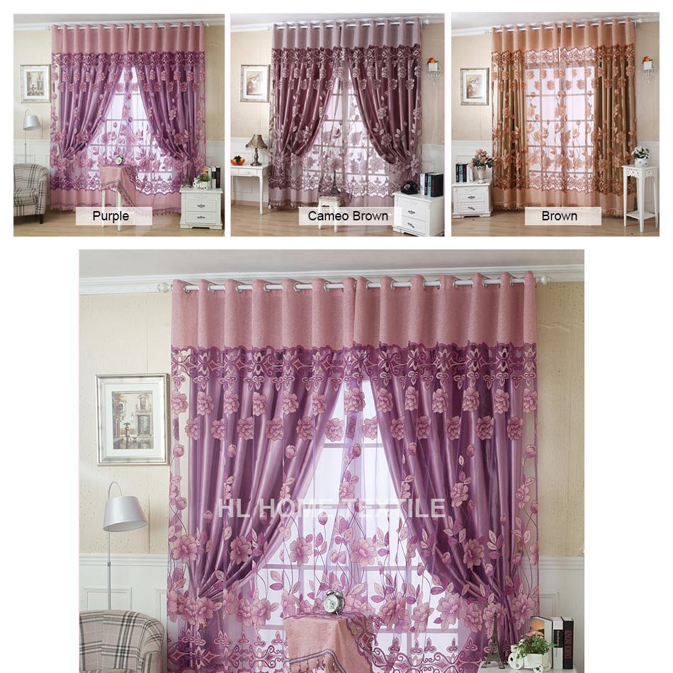acheter 2015 luxe jacquard ombre tulle pour fen tre voilages pour le salon la. Black Bedroom Furniture Sets. Home Design Ideas