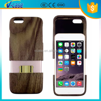 Bamboo wooden matel pc leather cell phone back cover case for iphone 6