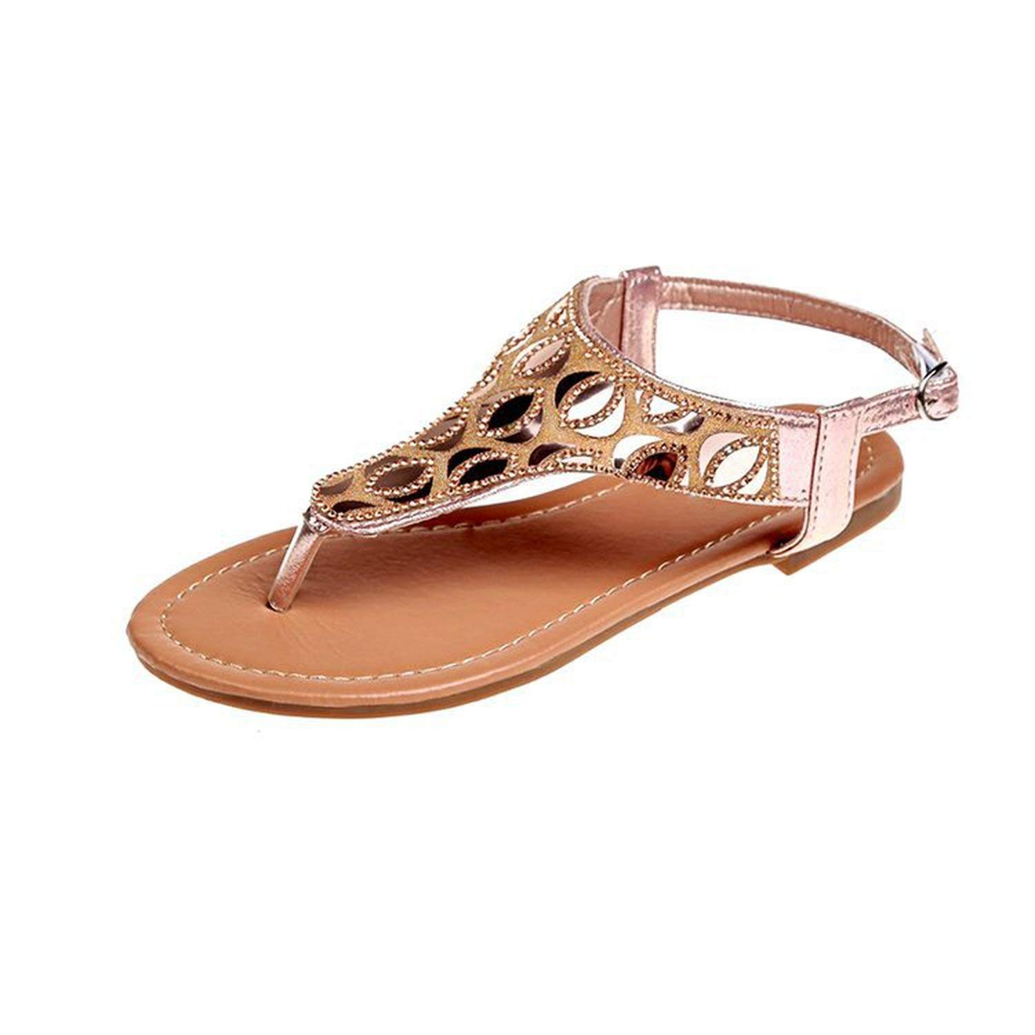 a7e2325d8bc3 Get Quotations · Kinggolder Sandals Flat Heel Summer Shoes Casual Leather  Thong Sandals Slip Resistance Women Crystal Flats Sandals