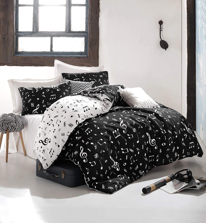 LaModaHome 2 Pcs Luxury Soft Colored Full Double Bedding 65% Cotton Double Quilt Duvet Cover Set Note Music Happy White Pattern Black Background Flat Sheet Black White