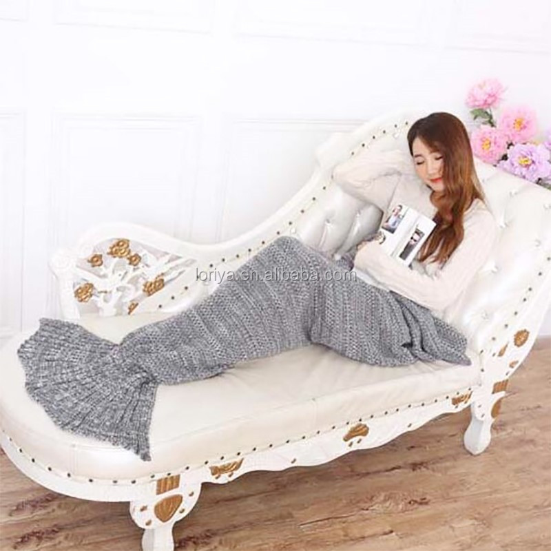 Hot sale pure color blanket beautiful adults and kids crochet knitted mermaid tail blanket