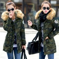 Onenweb w New Solid Military outfit women coat plus size Fur Collar Hood jacket women Parka