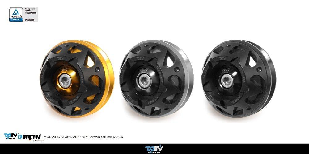 Dimotiv DMV Front Axle Slider-3D for BMW R1200GS 04-14, R1200GS ADV 05-14, R1200R 07-14, R1200R CLASSIC 12-13, R1200RT 05-13, R1200ST 05-08, R1200S 06-08,R NINE T 14-15 (Black)