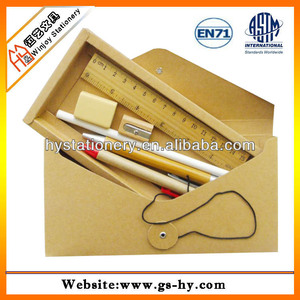 New design eco-friendly school stationery pack in envelop paper box