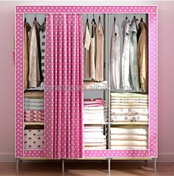 New Portable Oxford Cloth Pink Folding Fabric Wardrobe Design Closet  Folding Clothing Storage Organizer Garment Armoire