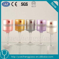 Wholesale New designed tall pink bling long-stemmed glass tealight candle holder for wedding