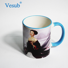 Factory Wholesale Promotion Sublimation Blank Red 11oz Ceramic Rim Handle Travel Coffee Mug Direct From China