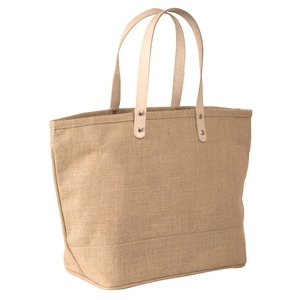 Large Jute Burlap Tote Bag With Leather Handles