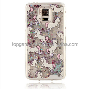 Cartoon Unicorn Horse Clear Dynamic Liquid Glitter Colorful Paillette Sand Quicksand Star Phone Case For Samsung galaxy S5 i9600