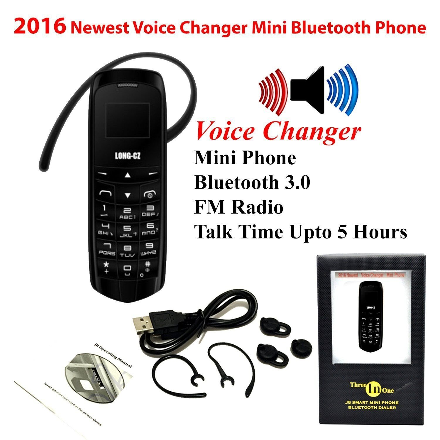 Worlds Smallest Phone 3 in 1 Mini Phone UNLOCKED with Hands Free Bluetooth Dialer,Bluetooth Headphone,SIM Card GSM LONG-CZ J8 Black