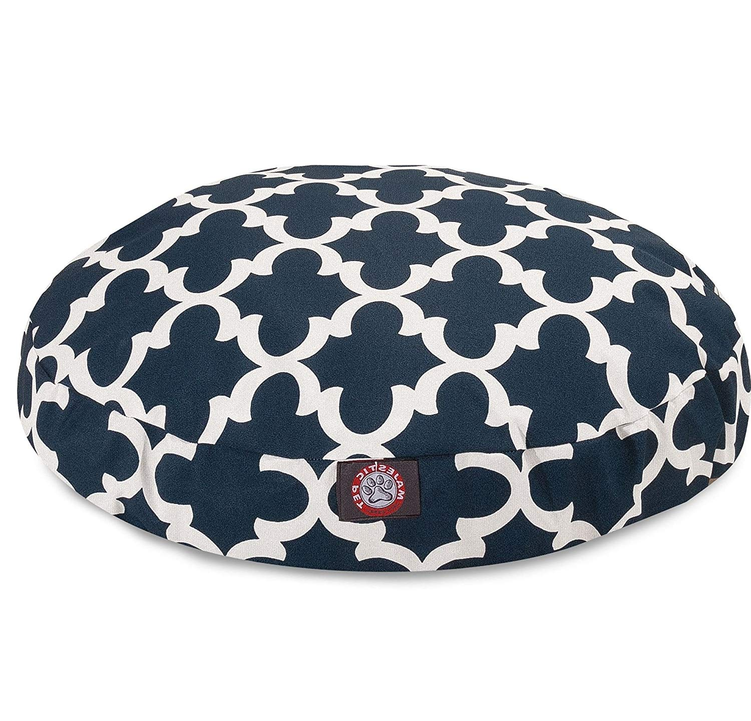 1 Piece Navy Blue Trellis Pattern Dog Bed (Small), Elegant Geometric Print Pet Bedding for Puppies, Features Removable Cover, Water & Stain Resistant, Round Shape, Polyester