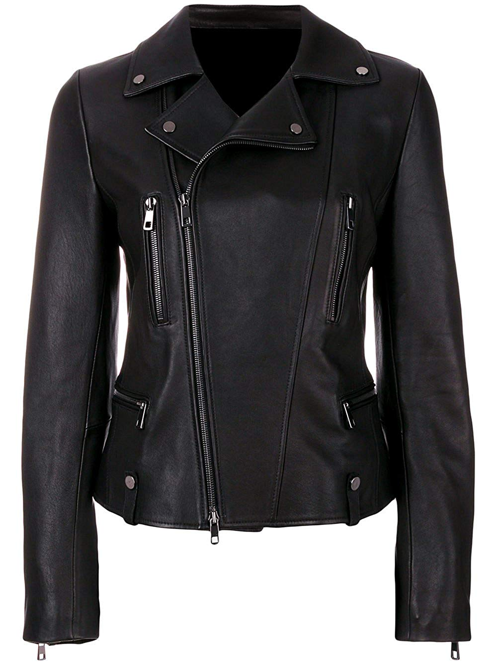 VearFit Arebzona Black PU Biker Motorcycle Leather Jacket for Women Missy Regular & Plus Size