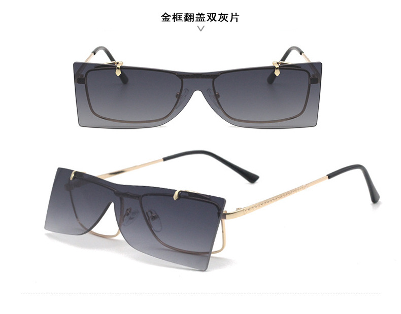 2019 New Design Metal Rectangular Rimless Sunglasses Unisex Flip Up Sunglasses