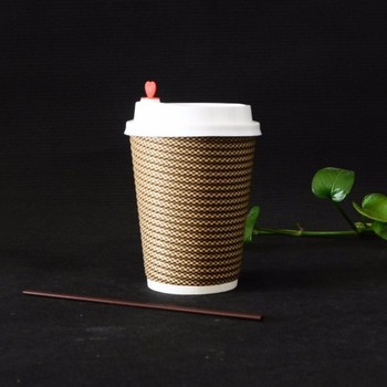 Insulated double wall outer Ripple finishing disposable paper cup for hot coffee to go packing in set 100
