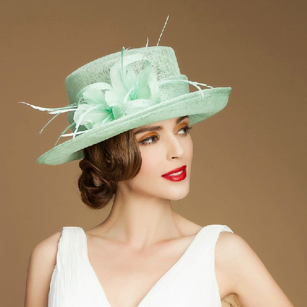 high quality wedding dress hats with flower women sinamay fancy church hats  for sale 313eb1336d8