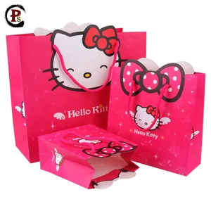 Luxury kraft blush hello kitty paper bag with cut out handle