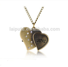Bronze Alloy Dual-heart flip Design Necklace Watch Japan Movt Pocket Watch