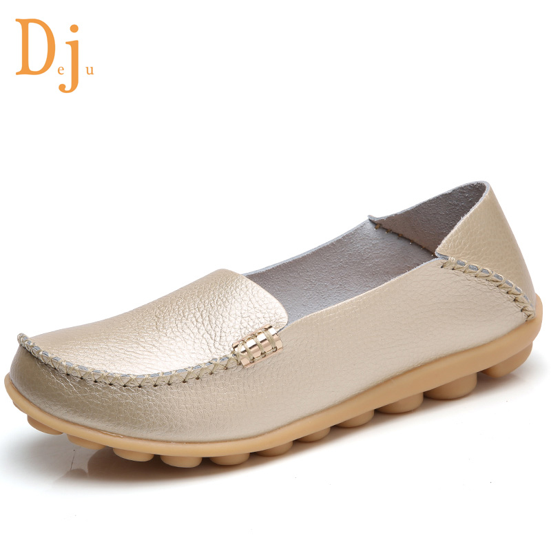 Plus size genuine leather flat shoes for women