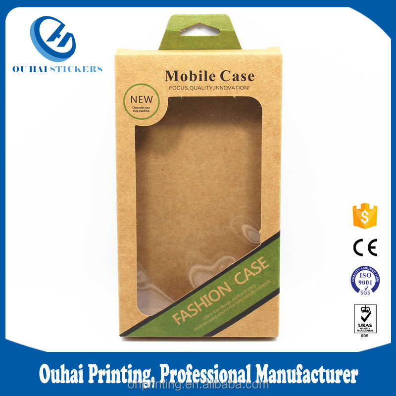 "9x16x1.5cm (3.5""x6.3""x0.6"") Hang Hole Kraft Paper Cell Phone Case Packaging Box For Mobile Phone Shell"
