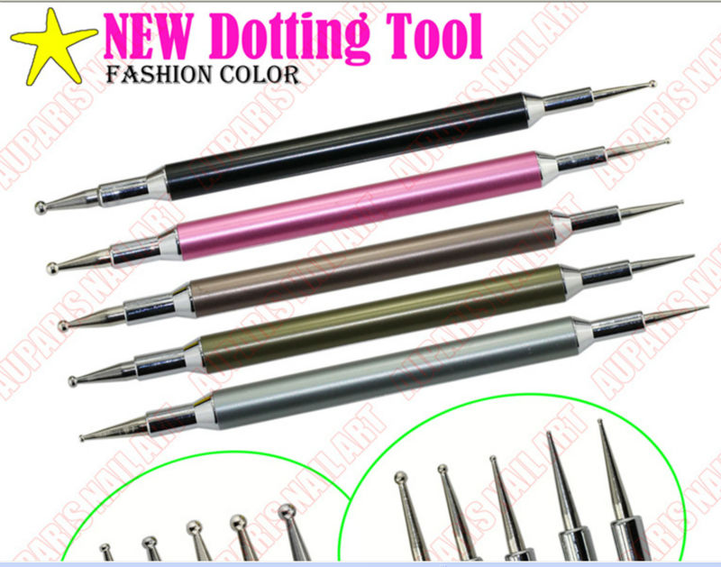 New Fashion Color Acrylic Handle Double End Nail Dotting Tool Kit