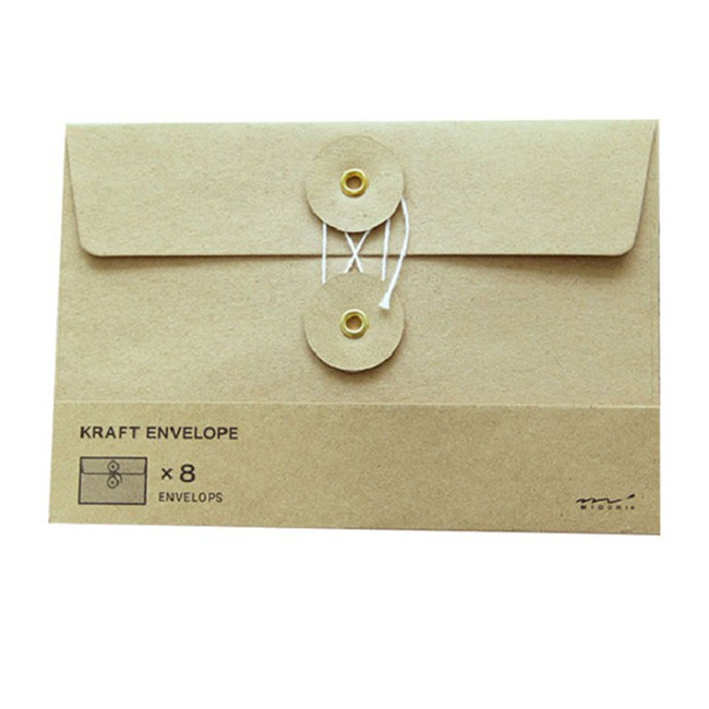custom printed cheap kraft paper envelope with button and string closure